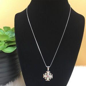 Jewelry - Sterling Silver & Opal Jerusalem Cross Necklace